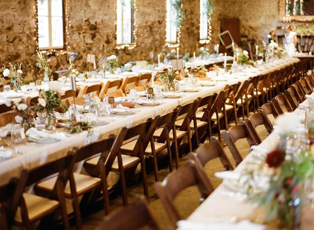 Long Table Brown Folding Chairs
