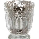 Silver Vintage glass tealight holder