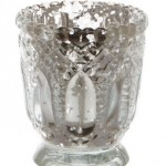 Silver Vintage glass tealight holder